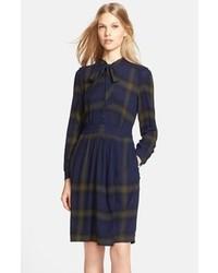 Burberry Brit Sylvie Plaid Tie Neck Dress