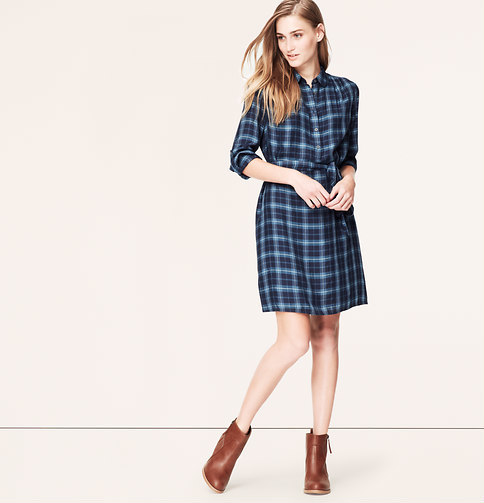 c0ea7c35faa LOFT Plaid Shirtdress, $79 | LOFT | Lookastic.com