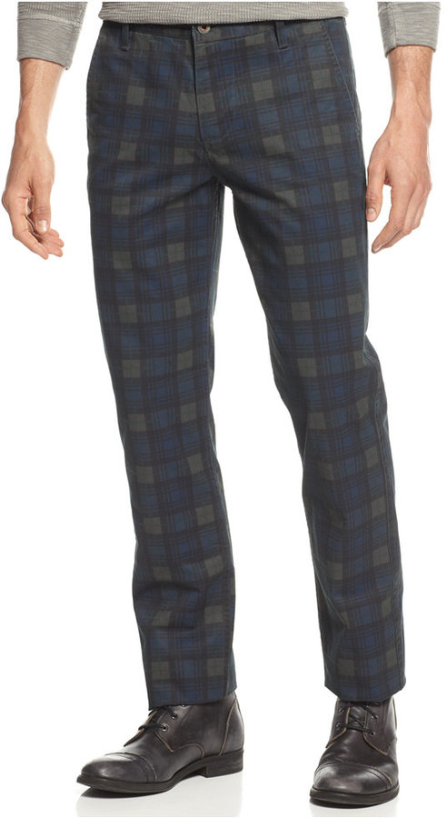 Dockers Slim Fit Alpha Khaki Plaid Flat Front Pants | Where to buy ...