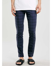 Topman navy checked stretch skinny chinos medium 332302