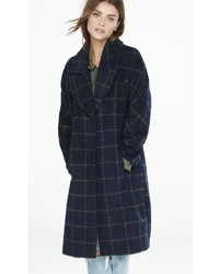 Express Navy Windowpane Plaid Blanket Coat