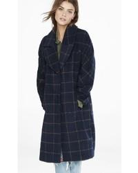 Express Navy Windowpane Plaid Blanket Coat