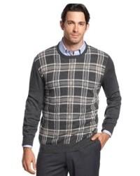 Navy Plaid Crew-neck Sweater