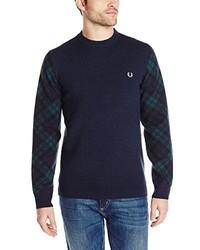 Fred Perry Tartan Sleeve Crew Neck Sweater