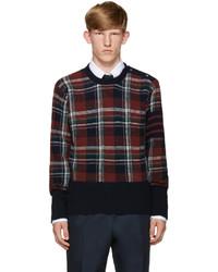 Thom Browne Navy Plaid Sweater