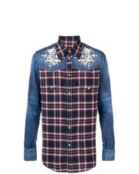 DSQUARED2 Denim Panelled Plaid Shirt