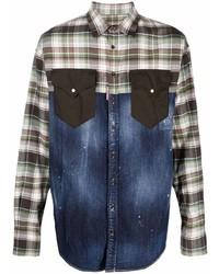 DSQUARED2 Plaid Panelled Denim Shirt