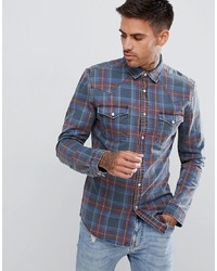 ASOS DESIGN Skinny Denim Check Shirt Western In Blue