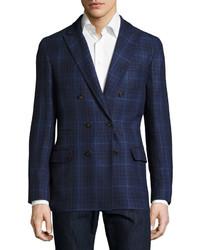 Brunello Cucinelli Macro Plaid Double Breasted Jacket Blue