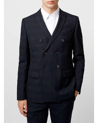Topman Navy Double Breasted Skinny Fit Suit Jacket With Subtle Check