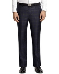 Fitzgerald fit plain front navy plaid trousers medium 3402