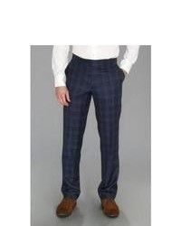Moods of Norway Even Flo Slim Check Suit Pant Dress Pants Navy Blue