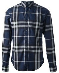 Navy Plaid Dress Shirt | Men's Fashion
