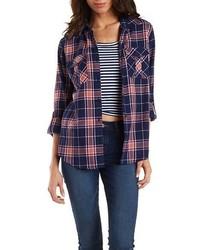 Charlotte Russe Plaid Flap Pocket Shirt