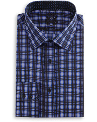 English Laundry Plaid Woven Dress Shirt Blacknavy
