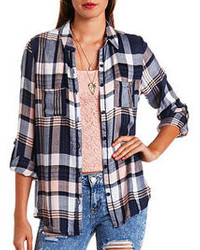 Charlotte Russe Flyaway Plaid Flannel Button Up Top