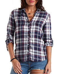 Charlotte Russe High Low Plaid Button Up Top