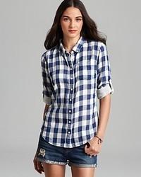 Jachs Girlfriend Shirt M Light Flannel Plaid Button Down