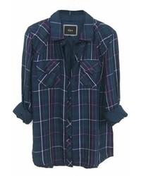 Rails Kendra Tencel Plaid Shirt In Navyjade