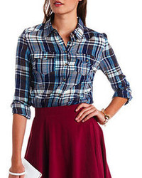 Charlotte Russe Long Sleeve Plaid Button Up Top
