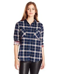 Lucca Couture Mixed Plaid Long Sleeve Button Front Shirt