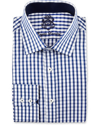 English Laundry Plaid Long Sleeve Dress Shirt Blue
