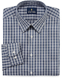 Stafford Stafford Travel Performance Super Long Sleeve Broadcloth Plaid Dress Shirt Big Tall