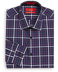 Saks Fifth Avenue RED Trim Fit Windowpane Plaid Dress Shirt