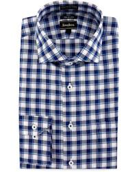 Neiman Marcus Trim Fit Wrinkle Free Dobby Plaid Dress Shirt Blue
