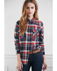 Forever 21 Two Pocket Plaid Flannel Shirt