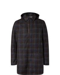 Herno Laminar Checked Virgin Wool Blend Hooded Coat