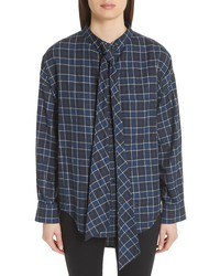 Balenciaga Back Logo Flannel Shirt