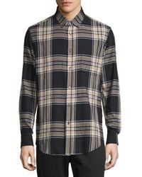 Navy Plaid Flannel Long Sleeve Shirt