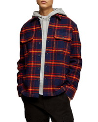 Topman Plaid Button Up Flannel Shirt Jacket