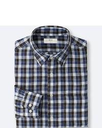 Uniqlo Premium Linen Checked Long Sleeve Shirt
