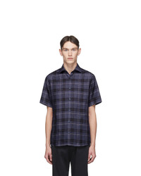 Z Zegna Blue Linen Plaid Shirt