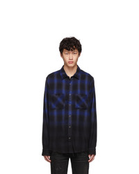 Amiri Black And Blue Ombre Flannel Shirt