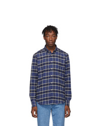 Naked and Famous Denim Blue Northern Brushed Flannel Easy Shirt