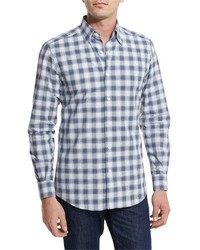 Check plaid sport shirt navy medium 1043866