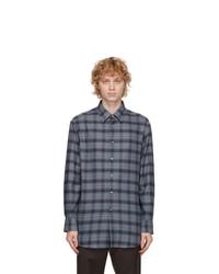 Brioni Grey Cotton Plaid Shirt