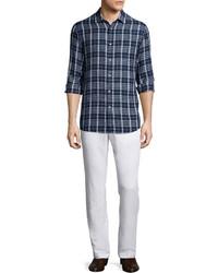 Michl kors tailored plaid long sleeve shirt navy medium 610309