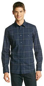Calvin Klein Navy Blazer Long Sleeve Plaid Button Down Shirt