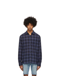 Frame Navy Check Single Pocket Shirt