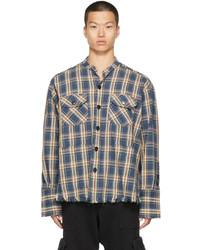 Greg Lauren Navy Plaid Boxy Shirt