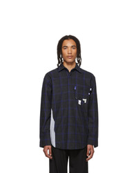 Ader Error Navy Wool Check Stain Shirt