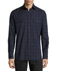 Tom Ford Plaid Cotton Military Shirt Navy