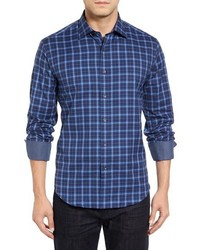 Shaped fit plaid sport shirt medium 915478