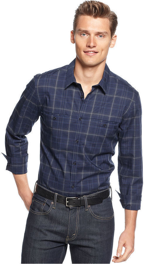 Calvin Klein Shirt Long Sleeve Window Plaid Shirt
