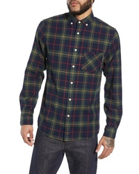 WAX LONDON Thirsk Plaid Herringbone Sport Shirt