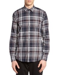 Trim fit plaid sport shirt medium 1161742